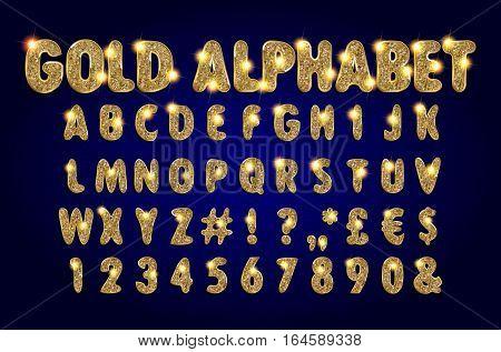 Golden Alphabet On A Dark Background