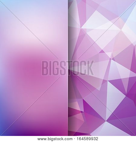 Geometric Pattern, Polygon Triangles Vector Background In Pink, Purple Tones. Blur Background With G