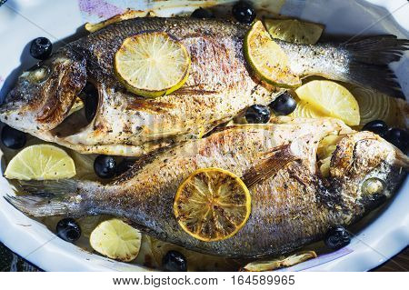 Baked in oven sea fish dorado with lime olives and onion. Grilled dorada fish on plate close-up.