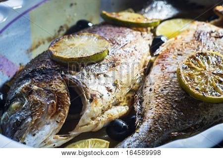 Baked in oven sea fish dorado with lime olives and onion. Grilled dorado fish on plate close-up.