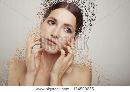 Sexy Fashion Beauty Woman Studio Portrait Disintegrate Into Particles