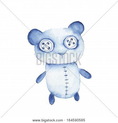 Hand made toy. Watercolor creepy Teddy bear