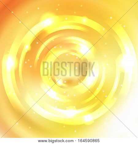 Vector Round Frame. Shining Circle Banner. Glowing Spiral. Vector Illustration. White, Yellow Colors