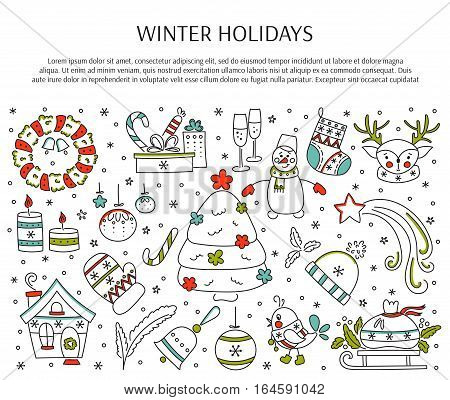 Winter holiday decorations. New Year and Christmas. Hand drawn thin line icons. Vector horizontal banner template. For posters, cards, brochures and souvenirs, invitations, website designs.