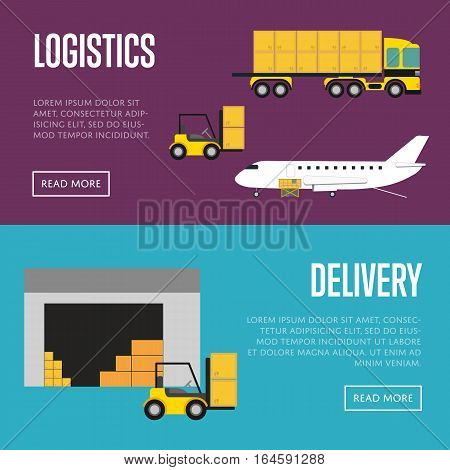 Delivery and logistics banner vector illustration. Forklift truck loading cargo jet airplane and freight truck in airport. Worldwide logistics, delivery transportation, commercial air shipping service