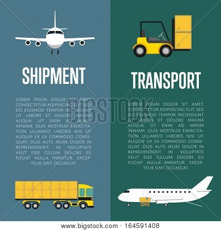 Shipment and transport flyers set vector illustration. Forklift truck with boxes, loading cargo in jet airplane and freight truck icons. Delivery transportation, commercial air shipping service