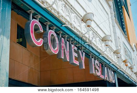 CONEY ISLAND, NEW YORK - JUNE 26, 2016: Entrance sign to the subway