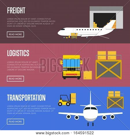 Logistics and freight transportation banner set vector illustration. Forklift truck loading cargo jet airplane and cargo truck in airport. Delivery transportation, freight shipment, air logistics