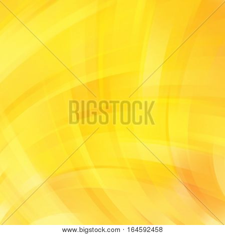 Vector Illustration Of Yellow Abstract Background With Blurred Light Curved Lines. Vector Geometric