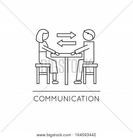 Vector thin line icon, two people in dialogue at the table. Metaphor of family communication and mutual understanding. Black on white isolated symbol. Simple mono linear modern design.