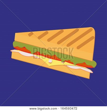 Sandwich vector. Sandwich in flat style. Sandwich isolated from background. Sub sandwich with lettuce, tomato, meat and cheese. Ham and vegetable sandwich icon. French Sandwich Icon. Illustration of an appetizing cartoon fast food french sandwich icon, wi
