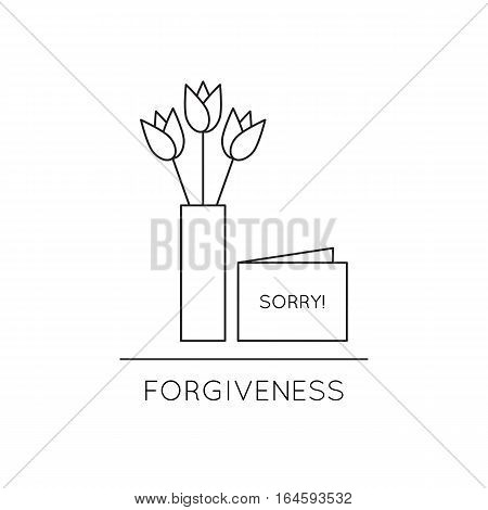 Vector thin line icon, vase with flowers and card with word sorry. Metaphor of forgiveness or mutual understanding. Black on white isolated symbol. Simple mono linear modern design.