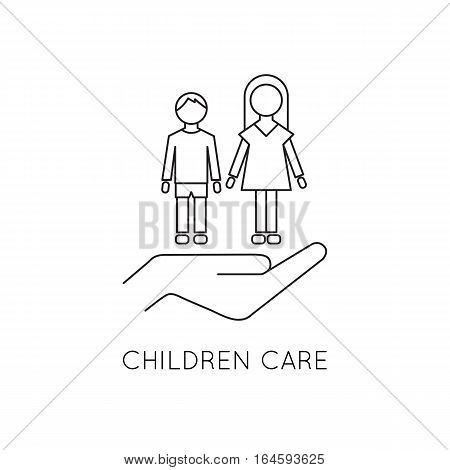 Vector thin line icon, boy and girl on the palm. Children, brother and sister. Logo template illustration. Metaphor of children care. Black on white isolated symbol. Simple mono linear modern design.