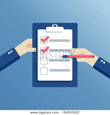 Hands holding a checklist and a marker to mark the completed ones. The businessman puts a tick in the form. Icon flat style vector illustration. Business concept planning