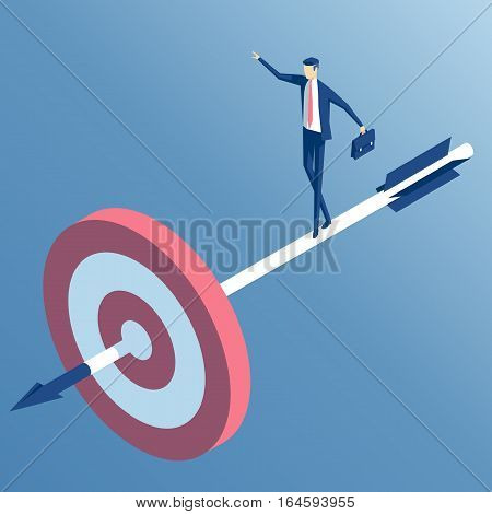 businessman standing on the arrow hit the target. the employee goes to the center of the target an arrow released from a bow. the business concept of accuracy and purpose