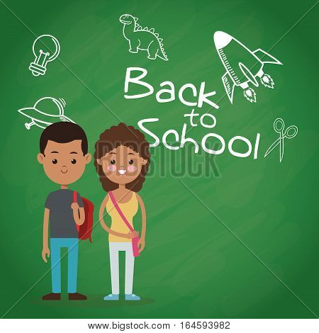 back to school two pupil board chalk text draw vector illustration eps 10
