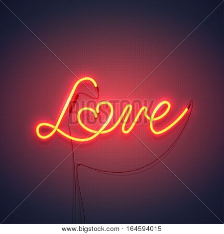 Neon sign, the word Love with heart on dark background. Design element for Happy Valentine's Day. Ready for your design, greeting card, banner. Vector illustration.