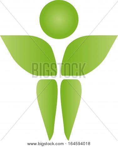A person from leaves, man and fitness logo
