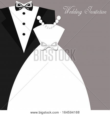 Wedding invitation vintage design elements, designers toolkit. Wedding card, elegant style. Elegant Vector Black Tie. Wedding dresses, vector illustration