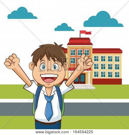 boy student happy funny yard building school vector illustration eps 10