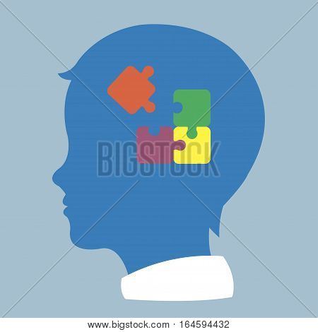 child head profile silhouette with jigsaw puzzle symbolizing autism spectrum disorders - vector poster