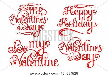 Set of Happy ValentinesDay Lettering design elements for cards prints and more. Vector illustration.