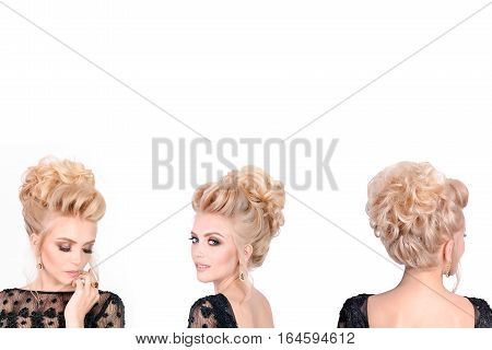 Beautiful blonde woman in elegant black low cut evening dress with updo hairstyle. Front, side and back view isolated on white background. Free space for text