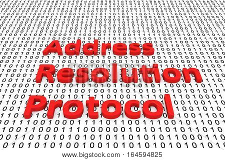 address resolution protocol in the form of binary code, 3D illustration
