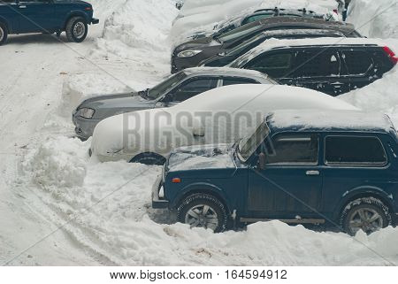 Snow-covered Cars After A Winter Storm,