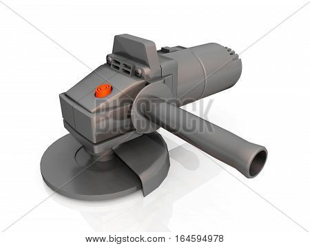 Computer generated 3D illustration with a grinding machine against a white background