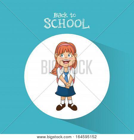 back to school student girl diadem smile uniform vector illustration eps 10