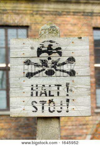 Auschwitz Halt Sign