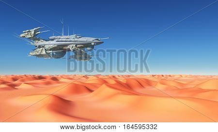 Computer generated 3D illustration with a huge spacecraft over a desert
