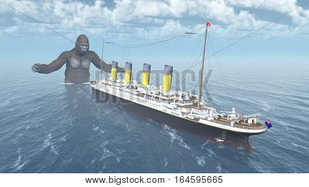 Computer generated 3D illustration with huge gorilla and ocean liner