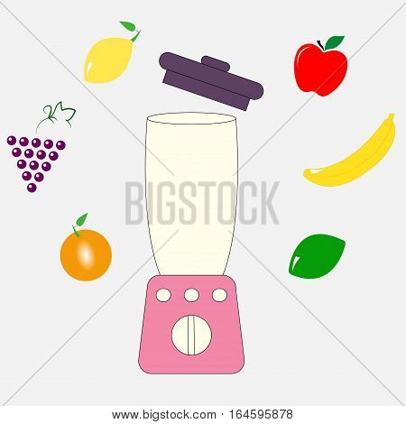 Food processor, mixer, blender and fruits - vector