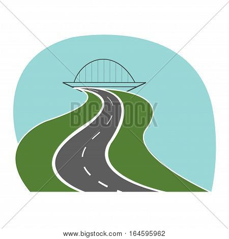 Highway road passes under the bridge - vetor