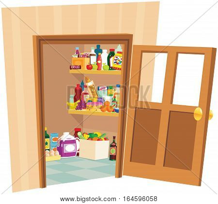 A large walk in pantry room you might find in any kitchen.