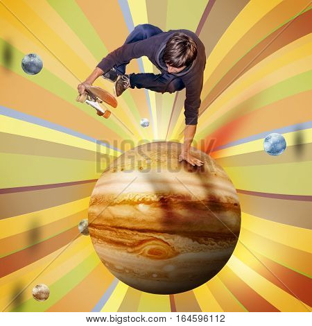 young skateboarder jumping over the jupiter planet aerial view