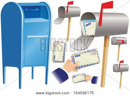 An illustration of various elements relating to the postal service.