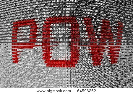 POW in the form of binary code, 3D illustration