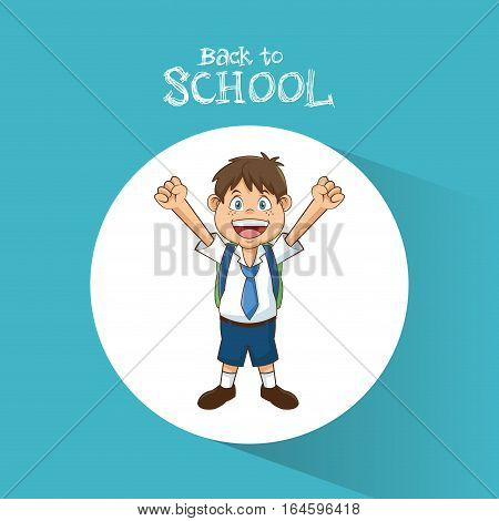 back to school student boy happy bag tie and short vector illustration eps 10