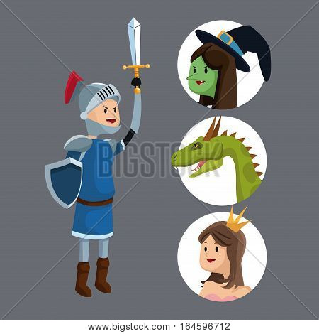 knight sword shield princess dragon witch vector illustration eps 10