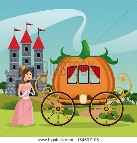 princess pumpkin carriage castle landscape vector illsutration eps 10