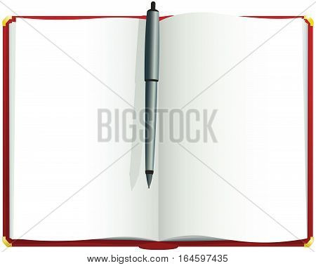 An illustration of a red hardback blank journal.