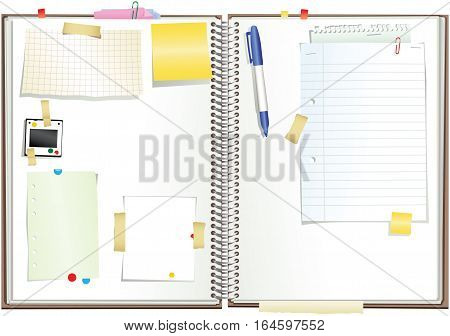 An illustration of a ring bound scrap book. Plenty of blank space for your own message.