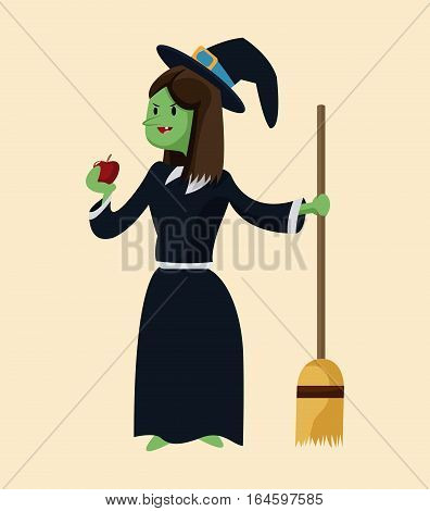 green witch ugly apple broom with black hat vector illustration eps 10