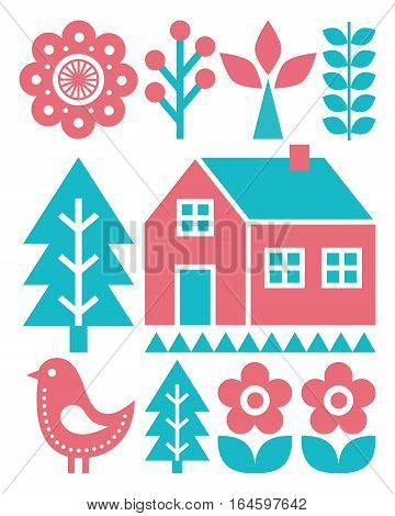 Finnish inspired folk art pattern - Scandinavian, Nordic style in turquoise and raspberry colour