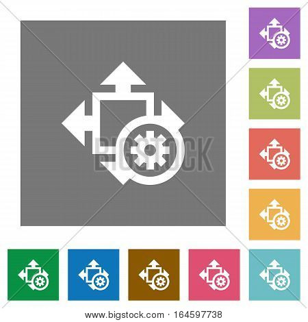 Size settings flat icons on simple color square backgrounds