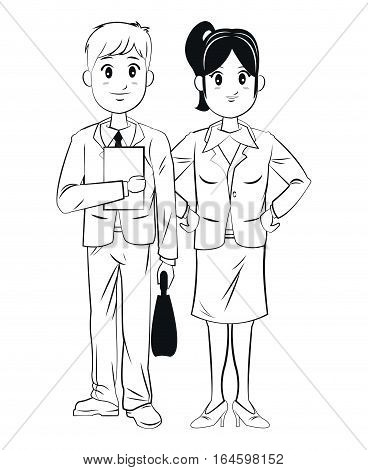 man and woman coworkers business outline vector illustration eps 10