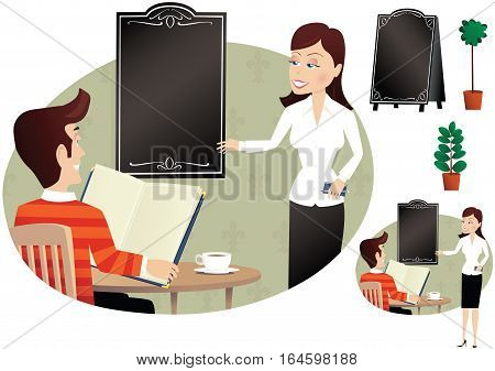 Several detail images of a waitress gesturing to a menu board with a customer looking on. Blank menu boards for your own message.